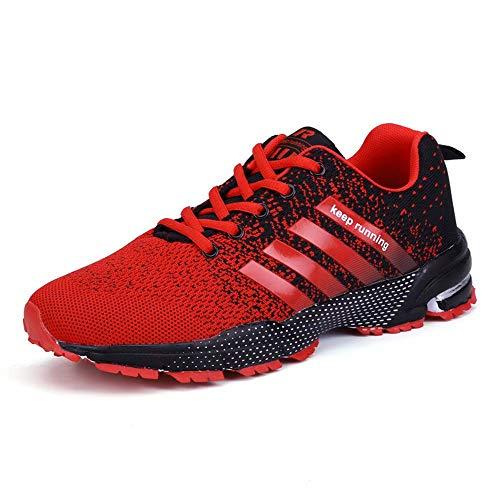 GSLMOLN Men's Sneakers Fashion Mesh Ultra Lightweight Sport Running Shoes Mens Cross Training Slip-On Athletic Shoes BlackRed 44