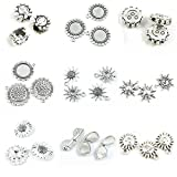 28 Pieces Antique Silver Tone Jewelry Making Charms Sun Smile Face Sunglasses Sunflower Flower Titan Cabochon Frame Setting 20mm Loose Beads Base
