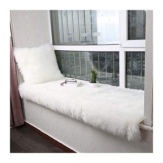 Noahas Luxury Fluffy Rugs Bedroom Furry Carpet Bedside Sheepskin Area Rugs Children Play Princess Room Decor Rug, 2ft x 6ft White - Unbelievable soft touch : Features 2.8 inch long and thick pile, this flowy shag rug is a great addition to cold bare floors, provide you an ultra soft luxury touch feeling. Professional Material: The superior eco-friendly artificial animal wool, it's not shedding. Not only does the seat cushion add fashion to your home, it also massages with its thicker, softer, more comfortable feel. Hypo-allergenic and Non-toxic: This extremely soft sheepskin carpet does not contain any toxic material, and hypoallergenic propery of this area rug makes it perfect for people with sensitive skin or allergies. - runner-rugs, entryway-furniture-decor, entryway-laundry-room - 51nG lUu76L. SS570  -