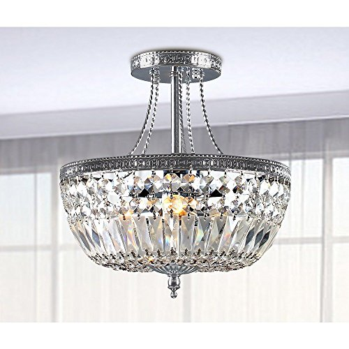 Basket Semi Flush - Andrewhomedecor Jessica Crystal Basket Semi-flush Mount Chrome 3-light Chandelier