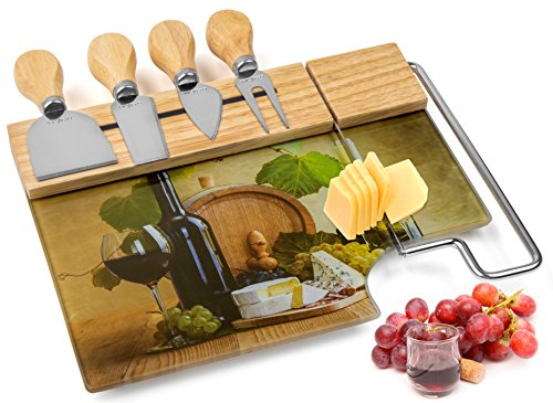 Cheese Board Cutting Set with 4 Cheese Knives and Integrated Cheese Slicer - Professional Quality - Beautiful Design