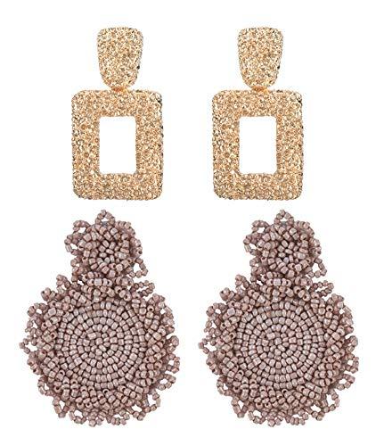MERTH Gold Geometric Earrings - Beaded Bohemian Earrings Bead Round Drop Dangle Statement Earrings, 70s 80s Earrings For Women, Add Necklace 1 pcs. (mauve)