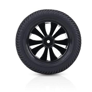 Alomejor Rueda de Coche RC, Juego de 2 Piezas 1:12 Neumáticos de Caucho