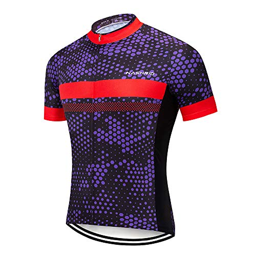 (NASHRIO Men's Cycling Jersey Short Sleeve Road Bike Biking Shirt, Full-Zip Tops Bicycle Clothes - Breathable and Quick-Dry with 3 Pockets (Purple))