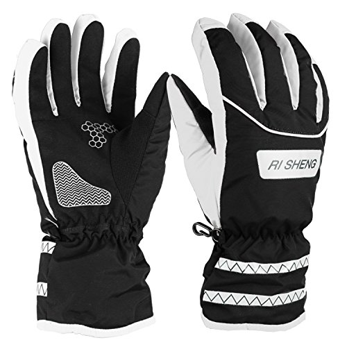 Ski Gloves, Hicool Waterproof Insulated Gloves Thicken Gloves for Skiing, Motorcycle, Riding and More Outwork during the Cold Weather (Black/White, X-Large)