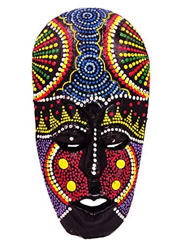 BALI PAPAYA Masque Bois Ethnique Décoration Statue Africain Tribal Totem Aborigène Afrique 19 cm Peint