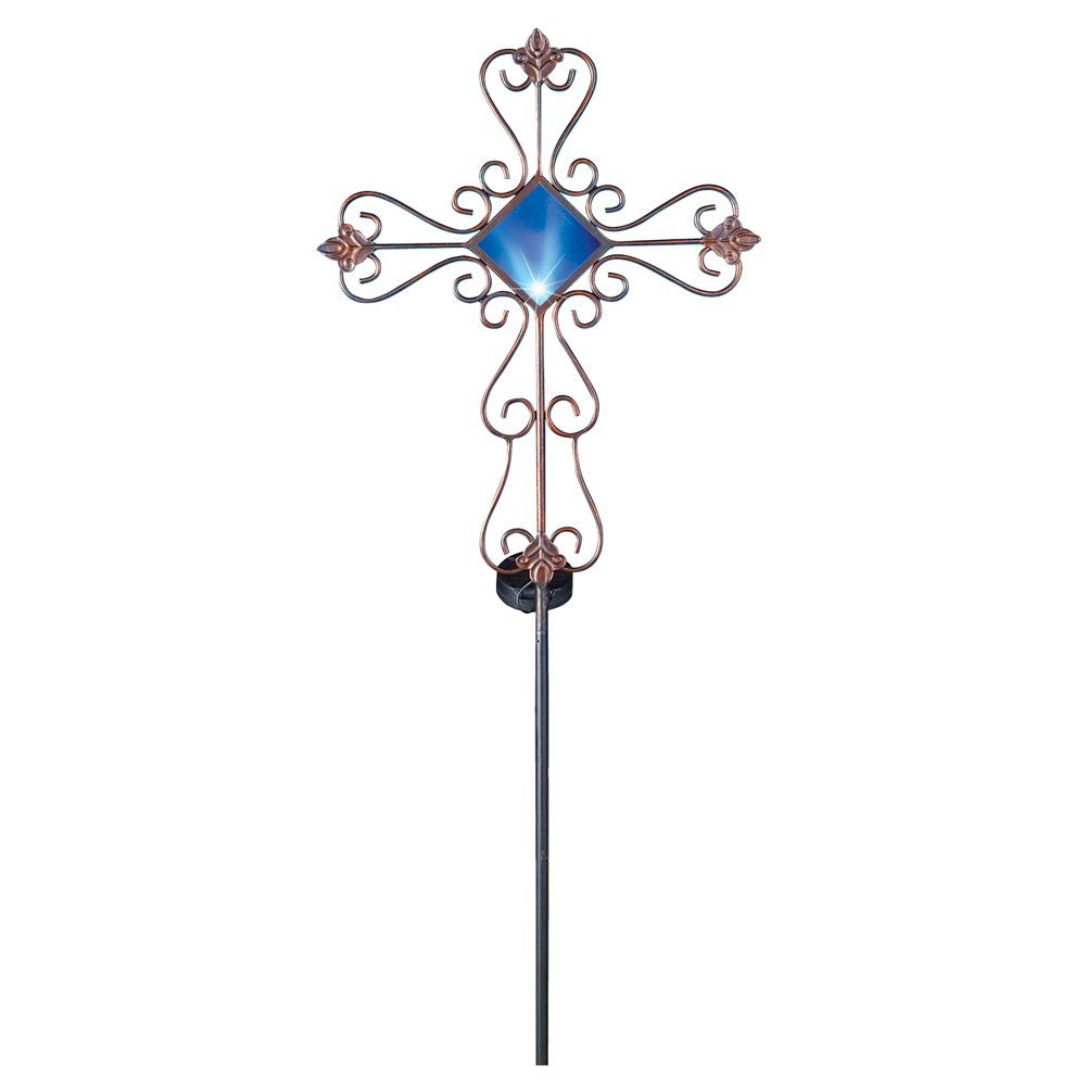 Collections Etc Scroll Cross Decorative Solar Outdoor Garden Stake