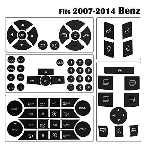 (Button Repair Package Steering AC Window Decals Stickers for 2007 2008 2009 2010 2011 2012 2013 2014 Mercedes Benz)