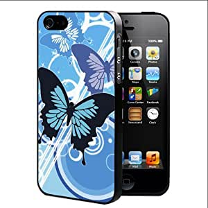 Blue Butterflies Vector Abstract Art (iPhone 4/4s) Hard Snap on Phone Case Cover