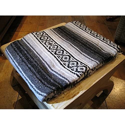 Top Large Authentic Mexican Falsa Blanket Mexican Blanket Black by Roger Enterprises for cheap