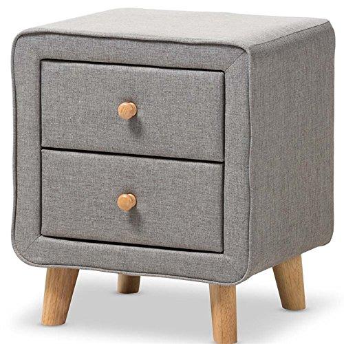 51nG15kR1%2BL - Baxton Studio Jonesy 2 Drawer Fabric Upholstered Nightstand in Gray