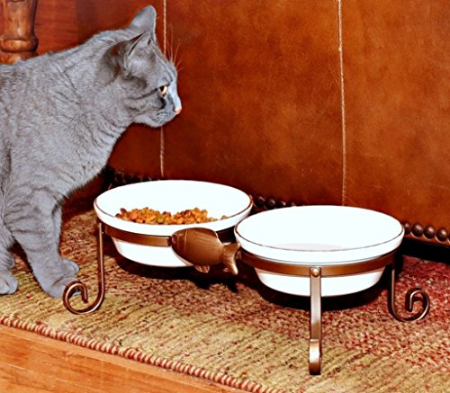 Elevated Cat Feeding Station White Two Microwave/Dishwasher Safe Stoneware Bowls