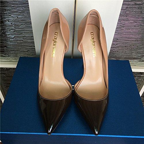 Alto Las Tacones Estrecha Color Calidad 12cm De De 10 Bombas VIVIOO De 12 Altos Tacón Superior Fiesta Desnudo Negro Gradiente Mujeres 8 Cm De Mujeres Zapatos heels Charol De Punta De a1w5R0xq