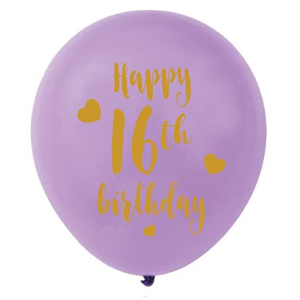 Purple 16th Birthday Latex Balloons 12inch 16pcs Girl Gold Happy Party