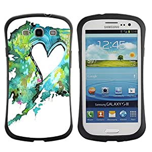 Suave TPU GEL Carcasa Funda Silicona Blando Estuche Caso de protección (para) Samsung Galaxy S3 I9300 / CECELL Phone case / / Painting Watercolor Teal Green Love /