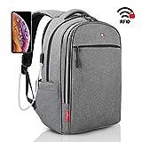 "Anti Theft Backpack Men Women - RFID Blocking USB Charging Port - Swiss Design Business Backpack Grey - College Travel School Waterproof Backpack - Laptop backpack, 15.6"" new model"
