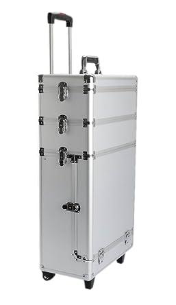 Kiste Transportbox LxBxH: 48 x 33 x 21 cm Silber Spannschl/össer Koffer IQE-Storage Transport-Trolley TB-M6 Schaumstoffpolsterung