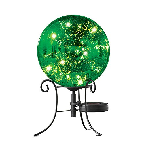 Collections Etc Faux Mercury Solar Gazing Ball with Stand, Green (Gazing Solar Stand Ball)