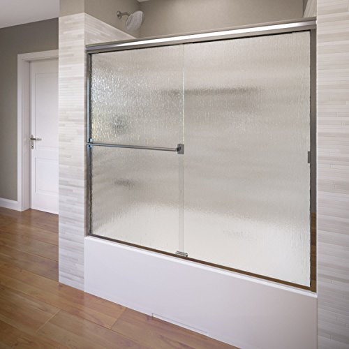 Basco Classic Semi-Frameless Sliding Tub Door, Fits 52-56 inch opening, Rain Glass, Silver Finish Classic Basco Shower Enclosure