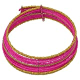 "Collection XIIX NWT Pink Gold Seed Bead Wrap Collar Necklace Layered 17"" Long"