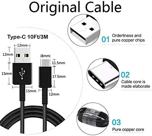 Original 10ft USB-C Cable for Raspberry Pi 4 Model B with Fast Charging and Data Transfer. Black 3M