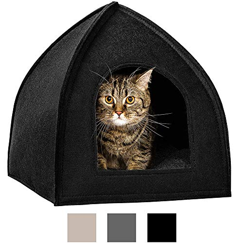 BRONZEDOG Cat House Bed with Removable Cushion Pad Cozy Kitten Cave Cute Pet Tent Beds for Cats Puppy Small Dogs Black…
