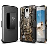 LG Phoenix 3 Case, LG Fortune Case, LG Risio 2 Case, LG Rebel 2 Case, LG K4 2017 Case with [Tempered Glass Screen Protector], NageBee [Heavy Duty] Shock Proof [Belt Clip Holster Kickstand] Case -Camo