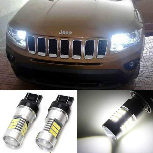 iJDMTOY (2) HID Xenon White 30-SMD LED Bulbs For 2011-2016 Jeep Compass For Daytime Running Lights ()