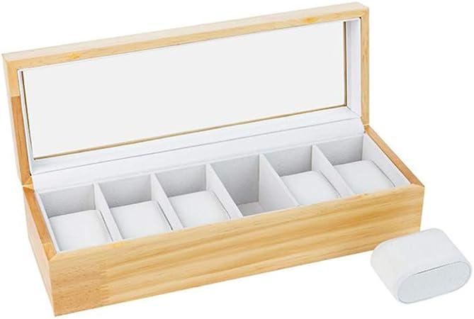 JUNMYEON Madera Maciza Caja De Reloj con Tapa De Cristal con 6 Compartimentos para Guardar Joyas: Amazon.es: Hogar