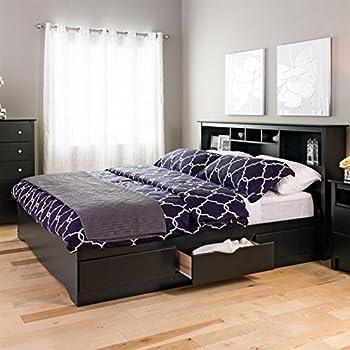 prepac black sonoma king bookcase platform storage bed