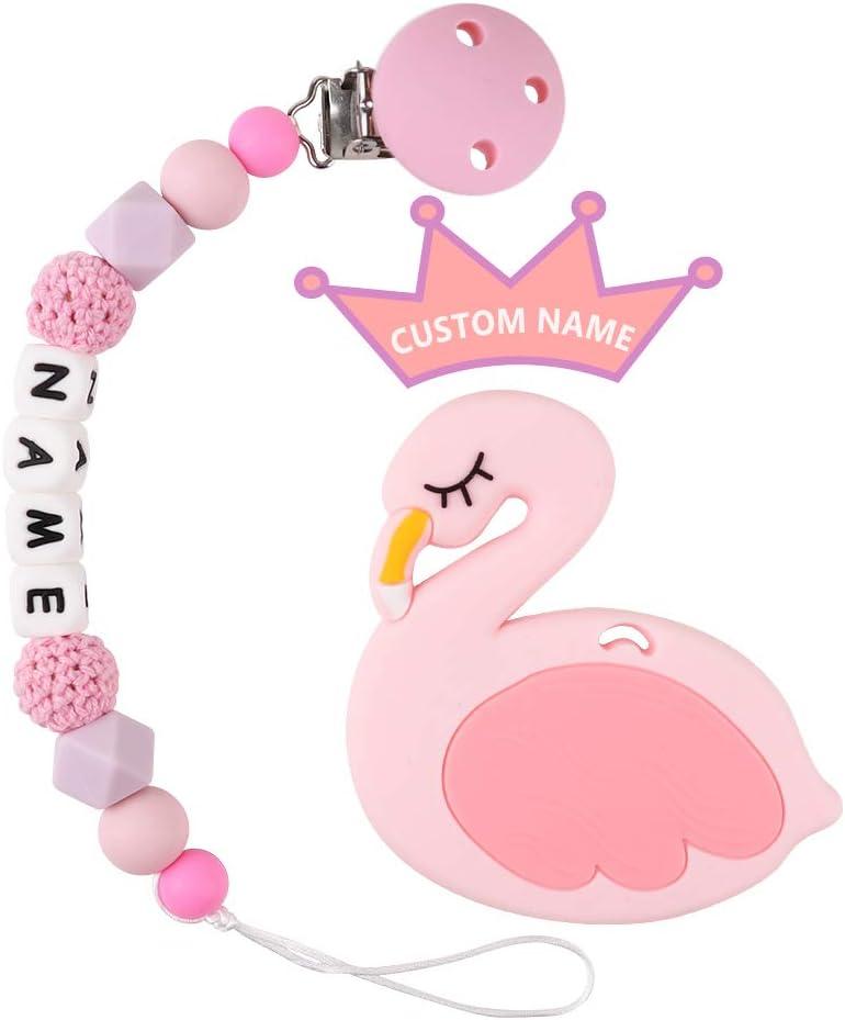 Dentición Nombre personalizado TYRY.HU Dentición para aliviar el dolor Juguetes Silicona para alimentos Gomas masticables BPA Portatelitos Bink para bebé recién nacido Regalo (Flamenco)