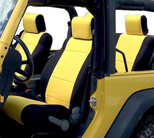 - GEARFLAG Neoprene Seat Cover Custom fits Jeep Wrangler JK 2007-2017 Unlimited 4 Door with Side Airbag Opening Full Set (Front + Rear Seats) (JK Yellow/Black)