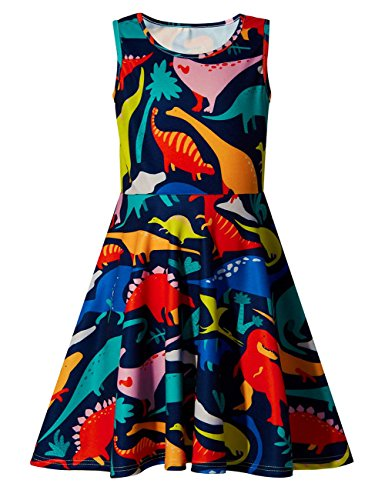 RAISEVERN Little Girls Print Dinosaur Sleeveless Summer Dresses Cute Sundress 10-13 Years -
