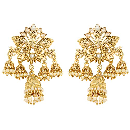 Ratna Indian Bollywood Traditional Leaf Design Gold Tone Party wear Bridal 2 Jhumka Jhumki Gold Tone Earring Wedding Style Exclusive Jewelry ()