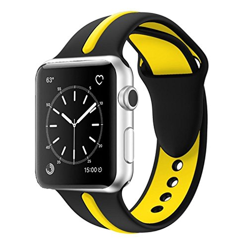 Apple Watch Band, Solomo [Sport Series] Fashion iWatch Strap Soft Durable Silicone Replacement Stripe Color Splicing Style with Women / Men Wristband for Apple Watch Nike+,Series 3 /2 /1 (42MM Yellow) -  YuanHeng Digital Technology Co.,Ltd, AWBSSAO42GN