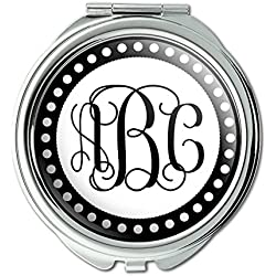 Graphics and More Personalized Custom Compact Purse Mirror - Monogram Fancy Font Scalloped Outline