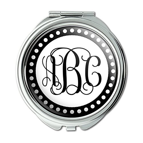 Custom Compact Mirrors (Graphics and More Personalized Custom Compact Purse Mirror - Monogram Fancy Font Scalloped)