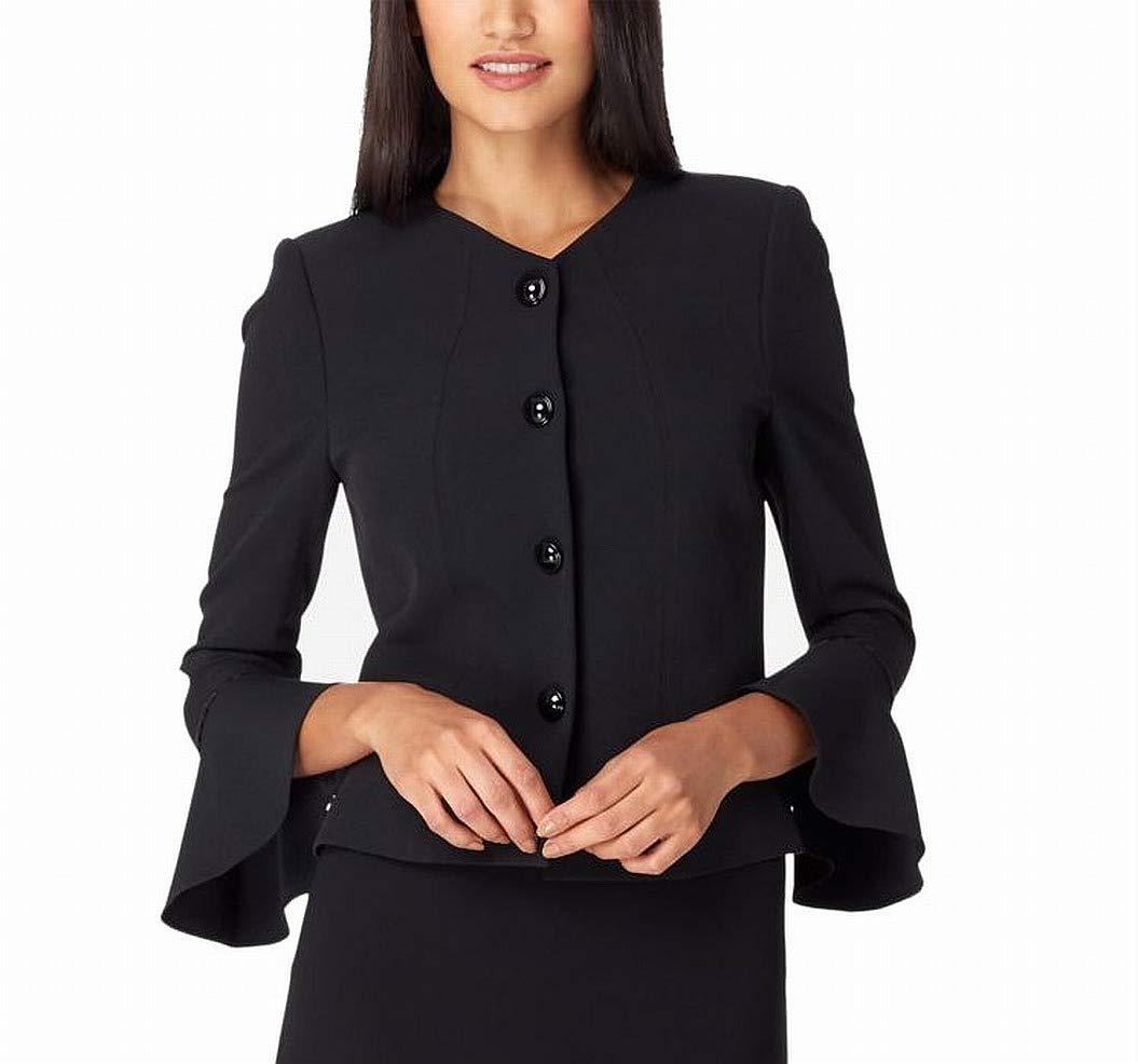 Tahari by Arthur S. Levine Women's Petite Jewel Neck Bell Sleeve 4 SNAP Jacket Skirt Suit, Black, 8P by Tahari by Arthur S. Levine
