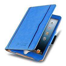 iPad Mini 4, 3, 2, and 1st Generation Case, JAMMYLIZARD The Original Blue & Tan Leather Smart Cover