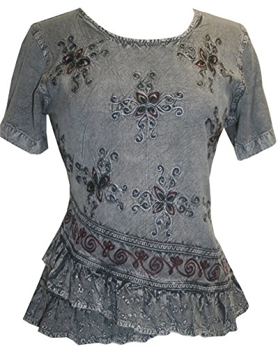 (Agan Traders 118 B Medieval Renaissance Cross Blouse (Medium, Silver Gray)