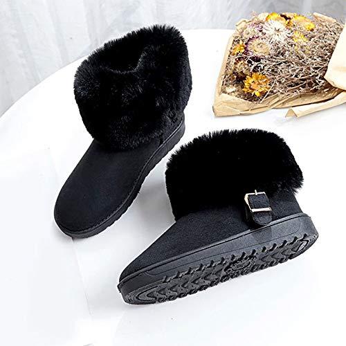 IWxez Damen Schneestiefel Kunstpelz PU PU PU (Polyurethan) Winter Minimalismus Stiefel Flache Ferse Runde Zehe Mid-Calf Stiefel Schwarz Grau   Braun 815b39