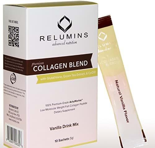 Relumins Premium Collagen Blend Powdered Drink Mix - 10 Sachets - 100% Premium-Grade ActuMarine Collagen with Glutathione, Green Tea Extract and CoQ10 (Vanilla)