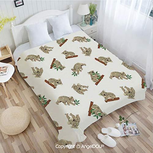 AngelDOU Portable Car Air Conditioner Blanket W72 xL78 Koala Pattern Design Mammals of Nature Nursery Australian Animals Baby for Home Couch Outdoor Travel.