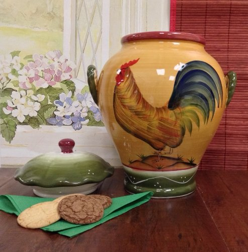 Tuscany Province Sunshine Rooster, Hand Painted Ceramic Cookie Jar, 89376 by ACK