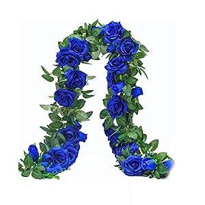 MARJON FlowersArtificial Fake Rose Vine Simulation Silk Flower Hanging Plants Home Garden Wedding Decorations Dark Blue 110