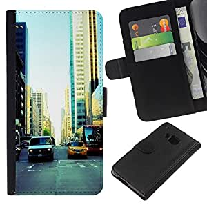 JackGot ( NYC Traffic ) HTC One M9 la tarjeta de Crédito Slots PU Funda de cuero Monedero caso cubierta de piel