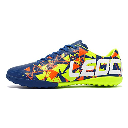 LEOCI Juvenile Anti Slip Training Football Sports Shoes, Adult Men's and Women's Professional Football Shoes,Artificial Grass Training Shoes,Indoor/Outdoor Training Shoes (7, Fluorescent Green)