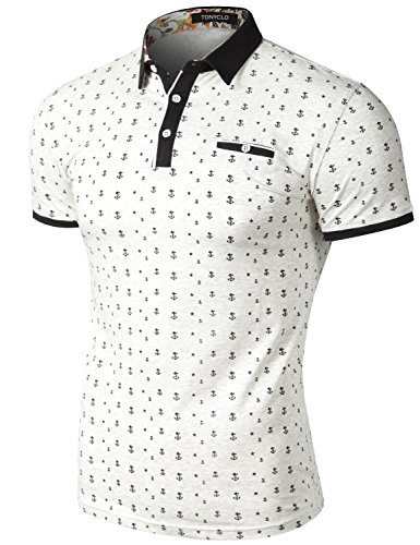 Slim Fit Short Sleeve Polo T Shirt Anchor and Star Printed Collar Tops