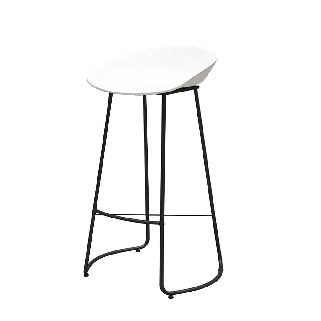 White Bar Stool High Stool Nordic Wrought Iron Fashion Bar Stool Chair Home Kitchen Leisure Cafe Front Desk High Stool (Sitting Height  75CM) Dining Chair (color   White)
