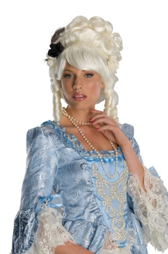 Secret Wishes  Costume Marie Antoinette Wig with Black Rose, White, One Size (Marie Antoinette Halloween Costume)